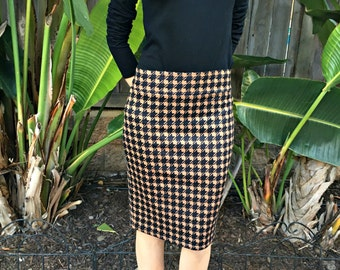 SALE Houndstooth Brown Black Fitted Ponte Knit Pencil Skirt