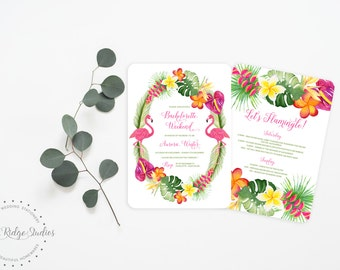 Printable Bachelorette Invitation | Let's Flamingle Tropical Bachelorette Party | Hens Party | Bachelorette Weekend | Printable Invite