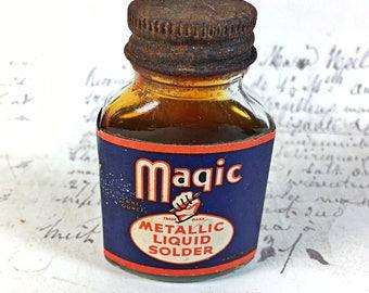 Vintage small bottle Magic Metallic Liquid solder display workshop industrial glass retro rusty
