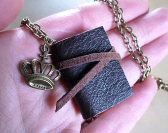 Book necklace, brown leather, mini book, book jewellery, miniature book, crown charm