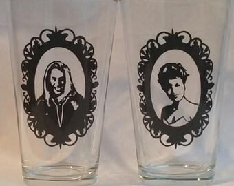Twin Peaks Laura Palmer and Bob pub glasses