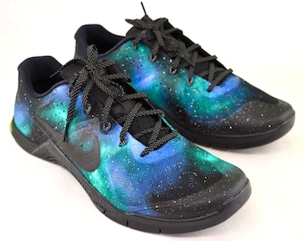 Custom Nike Metcon 2 -  Hand Painted Green & Blue Galaxy