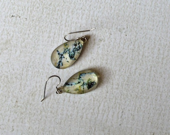 Teal and Beige Boho Dangle Earrings- Titanium Tear Drop Earrings- Marble and Cracked- Made with Upcycled Paper- Short Dangle Earrings- OOAK
