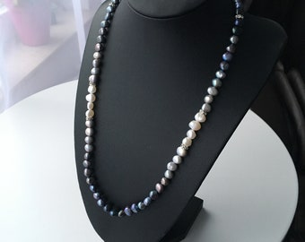Black silver blue necklace from Baroque beads   Pearl Necklace