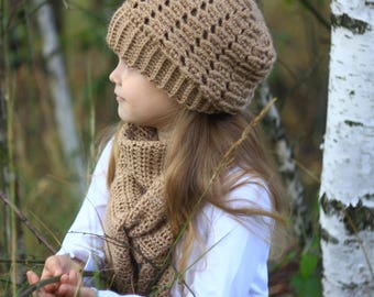 CROCHET PATTERN, set pattern, hat with a scarf (Toddler, Child, and Adult sizes) pdf pattern, crochet hat pattern, crochet scarf pattern