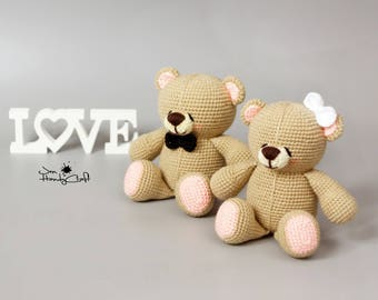 Teddy bear couple Unique Wedding gift for couple Stuffed plush bear Romantic gift Wedding decoration Bride and Groom gift Stuffed animals