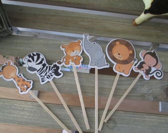 Jungle Babies Cupcake Toppers Set of 36 with Free Shipping