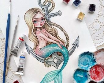 Original watercolor art. Mermaid and anchor.