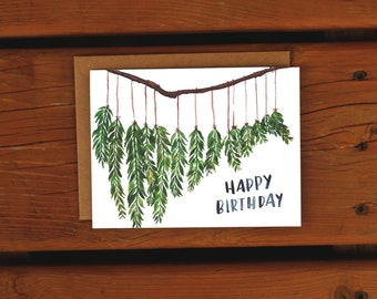 Hanging Botanicals Birthday Card | Woodsy Handpainted | Watercolor Greeting Card | Happy Birthday Card | Simple Leaves Birthday Greeting