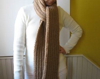 Scarf Knitted in Nougat Brown Wool - Chunky, Long, Mens, Winter, Cute Hand Knit Multi Wrap Scarf, Huge, Fringes, Neck Warmer, Womens Scarves