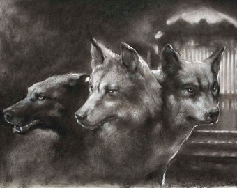 Guardian of the Gate - Cerberus the three-headed dog - 12 x 18 art print of a charcoal drawing
