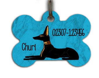 ID-Tag / pendant Anubis & Wepwawet personalized with name and phone number
