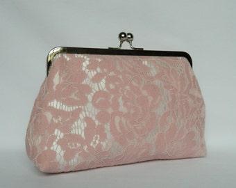 Pink Lace Clutch, Bridal Clutch, Wedding Clutch, Lace Clutch, Pink Clutch, Bridesmaid Clutch, Bridesmaids Gift, Evening Clutch