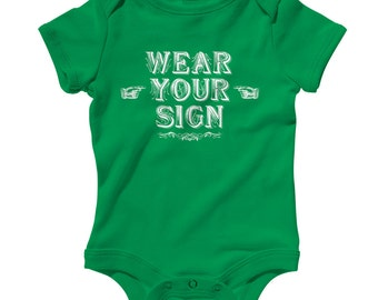 Baby Wear Your Sign Romper - Infant One Piece, Creeper - NB 6m 12m 18m 24m - Funny Gift, Dummy, Stupid People, Joke - 4 Colors