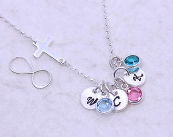 Silver Infinity necklace, Or sideways Cross necklace. Personalized Initial/ birthstones. Mothers necklace, Friends, Sister Jewelry