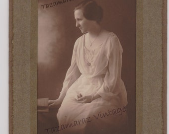 Antique Photograph Elegant Lady in White Sepia Photo