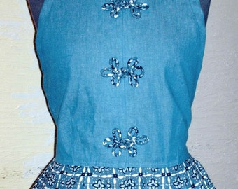 Handmade Top, Recycled Clothing, Blue Diamond, Upcycled Clothing, Misses Halter Top, Denim Top, Unique Clothing, Refashion Clothing, Cute