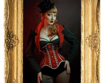 Red Black & White Striped Ringmaster Steel Boned Underbust Corset