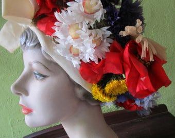 Irene Vintage  Spring Bouquet Garden Hat Silk Floral I Magnin Red White Blue Gold Church Derby