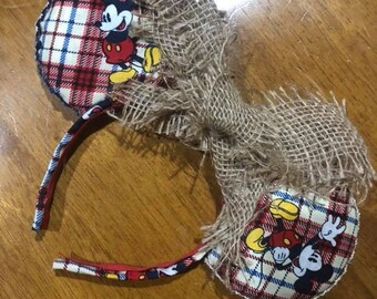Mickey Plaid w/ Burlap bow