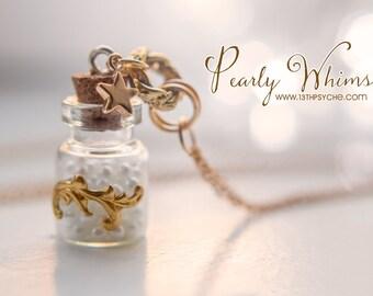 Pearls bottle necklace, glass bottle pendant vial necklace romantic jewelry pearls pendant bottle charm pendant inspirational gift for women