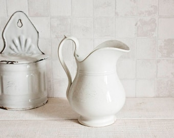 Gorgeous Vintage French Ironstone Water Pitcher - Shabby Chic White Ceramic