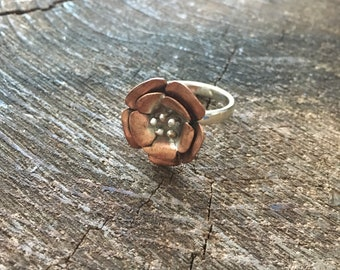 Cherry Blossom Ring in Copper, Sterling Silver, and Fine Silver