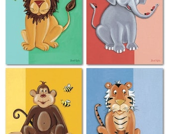 Set of 4 Art Prints For Kids Jungle Baby Animals