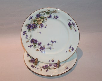 8565: Norleans ADELE SET 2 Bread and Butter Dessert Plates Purple Violets Vintage Meito Japan Fine China Vintageway Furniture