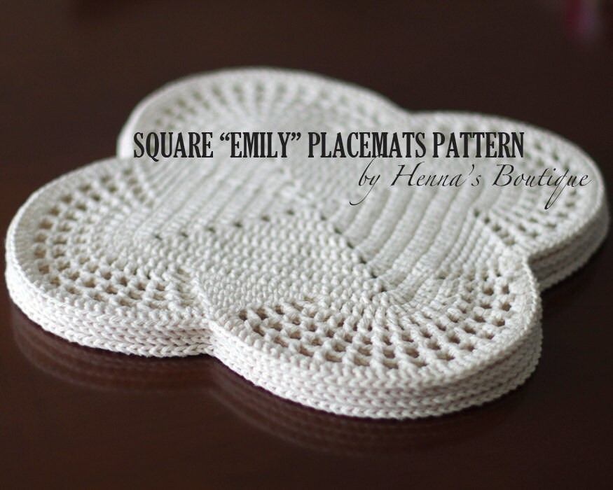 Crochet Placemat Pattern Square EMILY Placemats