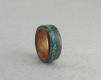 Elegant bentwood ring made in two tones and a chrysocolla inlay. - Handmade Alternative Ring - Size - 17.80 mm. (USA 7 1/2)