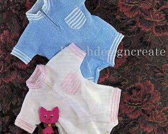 pdf, digital download, knitting pattern, baby, boys, girls, romper, buster suit, sizes 18-20 in