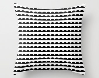 Black and White Pillow - Modern Decorative Pillow - Velveteen Pillow Cover - Black and White Cushion Cover - Kids Pillow - Modern Kids Decor