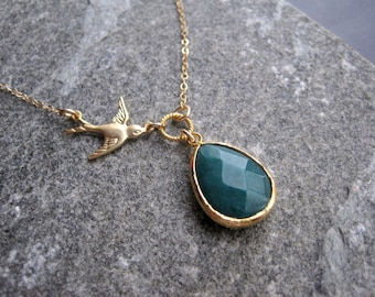 Gold Bird Necklace - Green Jade Gold Bird Necklace - Modern Bird Necklace - Bird Jewelry