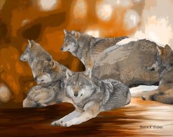 Wolf Art, Autumn Fall, Southwestern Winter, Orange Gray, Native American Totem Animal, Wolves Home Decor, Wall Hanging, Giclee Print 8 x 10