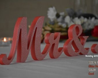 Mr and Mrs Sign Wedding Table Signs , Mr and Mrs Letters, Silver Glitter, Gold Glitter, Mr & Mrs Wood Wedding Decoration