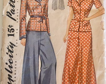 "Vintage 1940s Simplicity Misses' Pajamas Pattern 3949 Size 12 (30"" Bust)"
