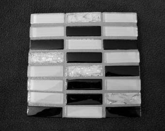Handmade Tile Trivet Manhattan Series Black and White with Silver Grout on Acrylic Bases