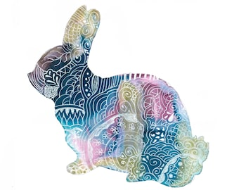 Rabbit Zentangle Print