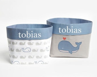 Mama Whale - Fabric Storage Baskets, Nursery Storage Baskets, Nautical Storage Baskets, Storage Baskets, Canvas Storage Baskets