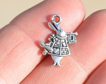 BULK 50 Silver Alice in Wonderland Rabbit 20mm Charms SC1721