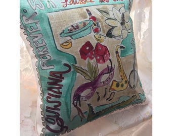 Louisiana State Stamp Pillow
