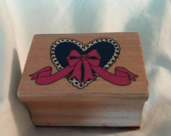 Collectible Heart and Bow Rubber Stamp for Scrapbooking or Card Making