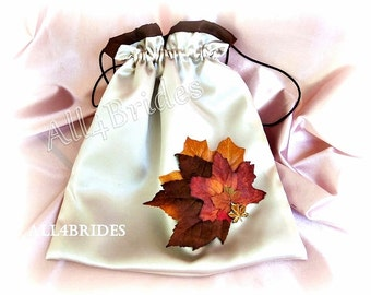 Wedding money dance bag, Fall leaf bridal drawstring bag, Champagne and Chocolate Brown fall leaves wedding accessories