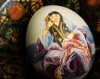 Hand Painted Large Egg Real Ostrich Eggshell Vintage Original Signed Painting Art Bohemian Woman Portraits Spring Easter Basket Gift