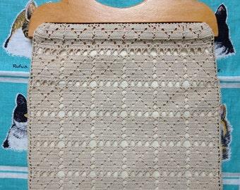 Vintage 1960's 1970's beige off white crochet hippie bag