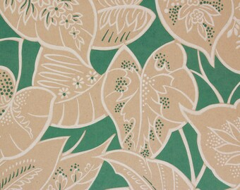 1950s Vintage Wallpaper Leaves on Jungle Green by the Yard--Heavy Commercial Extra Wide