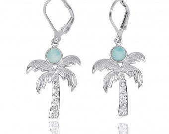 Sterling Silver Palm Tree with Larimar and White Topaz Lever Back Earrings