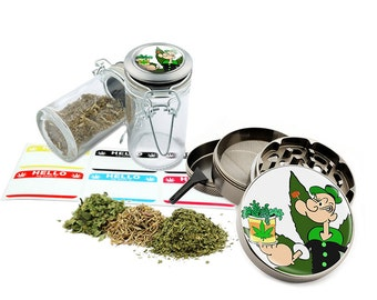 "Popeye - 2.5"" Zinc Alloy Grinder & 75ml Locking Top Glass Jar Combo Gift Set Item # G50-82515-5"