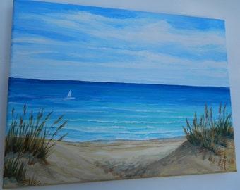 Original Beach painting, Seascape painting, Florida beach, Sand dunes, Beach art, Ocean painting, Sand dunes painting, Beach wall art